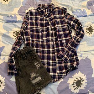 Charlotte Russe BLUE/WHITE/RED FLANNEL